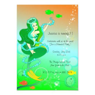 Sirena n sus perlas - cumpleaños invitations-2 de invitación 12,7 x 17,8 cm