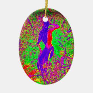 sirena púrpura retra maravillosa del hippie adorno ovalado de cerámica