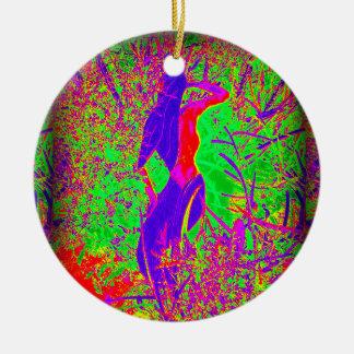 sirena púrpura retra maravillosa del hippie adorno redondo de cerámica