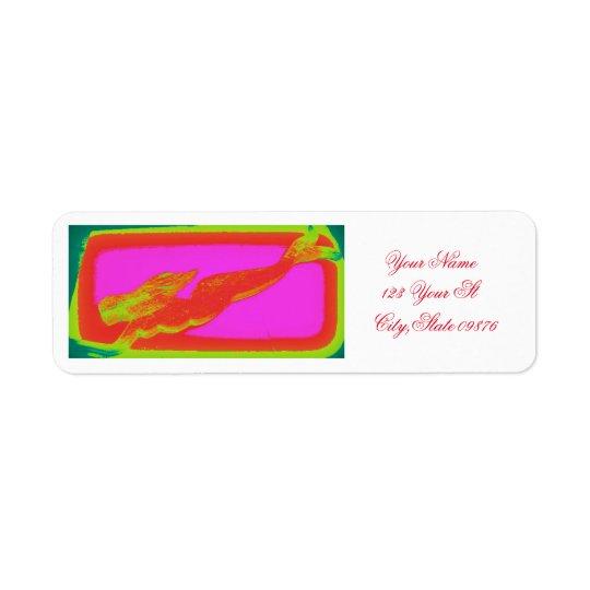 sirena roja de la natación etiqueta de remite