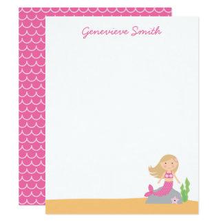 Sirena rosada personalizada invitación 10,8 x 13,9 cm