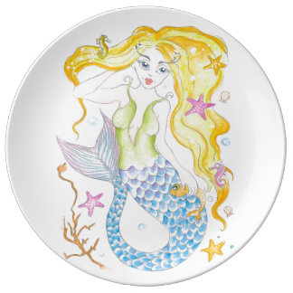 Sirena rubia linda plato de porcelana