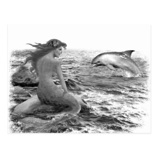 Sirena y delfín postal