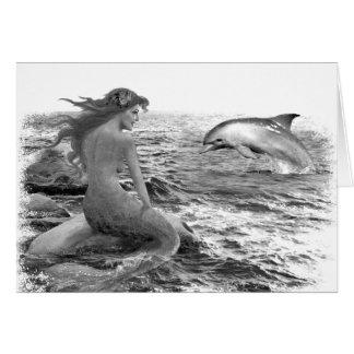 Sirena y delfín tarjeta de felicitación