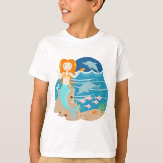 Sirena y fiesta de cumpleaños de los delfínes camiseta