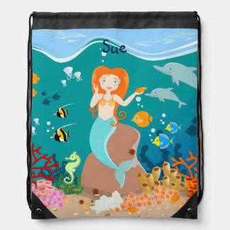 Sirena y fiesta de cumpleaños de los delfínes mochilas