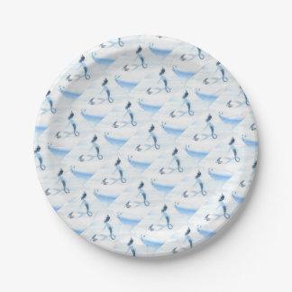 Sirena y frailecillo plato de papel