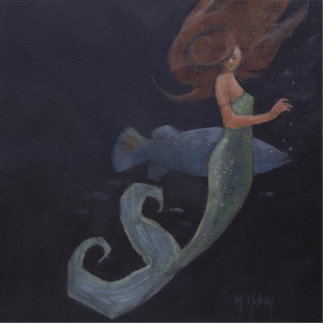 Sirena y los pescados azules escultura fotografica