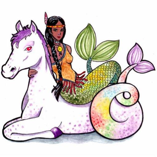 Sirena y merhorse indios americanos esculturas fotográficas