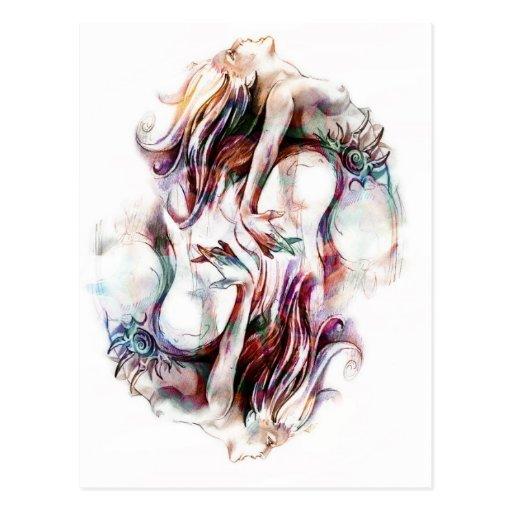 Sirenas gemelas postales