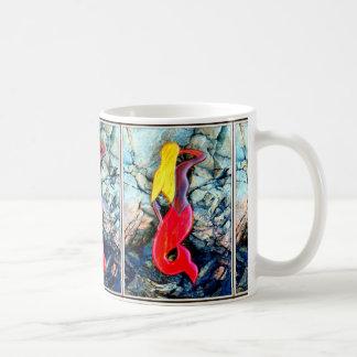 sirenas rubias en rojo taza de café
