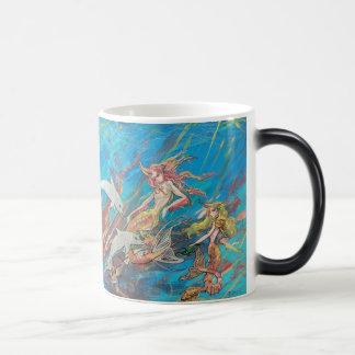 Sirenas y delfínes tropicales taza mágica