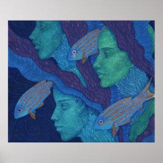 Sirenas y pescados, arte surrealista de la