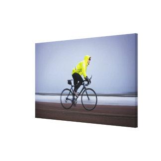Sirva las bicicletas en un día de invierno frío y  lienzo envuelto para galerías