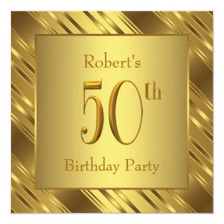Sirve a la 50.a fiesta de cumpleaños del oro invitación 13,3 cm x 13,3cm