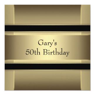 Sirve a la 50.a fiesta de cumpleaños del oro negro invitación 13,3 cm x 13,3cm