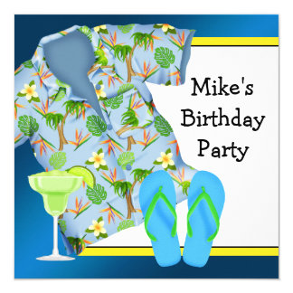 Sirve a la fiesta de cumpleaños de la playa del invitación 13,3 cm x 13,3cm