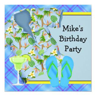 Sirve a la fiesta de cumpleaños del Bbq Margarita Invitación 13,3 Cm X 13,3cm