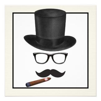 Sirve a la fiesta de cumpleaños del bigote invitacion personalizada