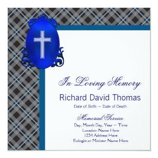 Sirve gris de azules marinos en monumento cariñoso invitación 13,3 cm x 13,3cm