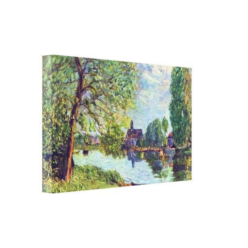 Sisley - paisaje del río en el Moret-sur-Loing Impresion En Lona