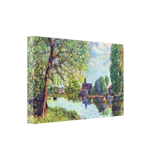 Sisley - paisaje del río en el Moret-sur-Loing Impresiones De Lienzo