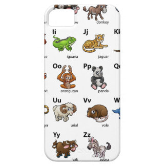Sistema animal de la carta del alfabeto del dibujo funda para iPhone SE/5/5s