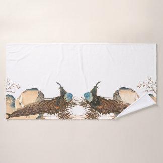 Sistema animal de la toalla de baño del pavo real