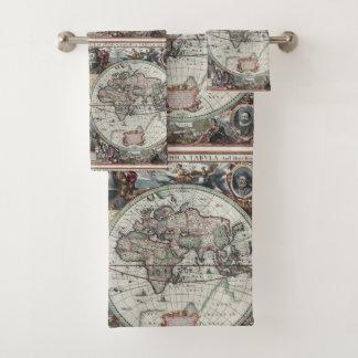 Sistema antiguo de la toalla del mapa del mundo
