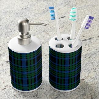Sistema azul y verde del cuarto de baño de la tela set de baño