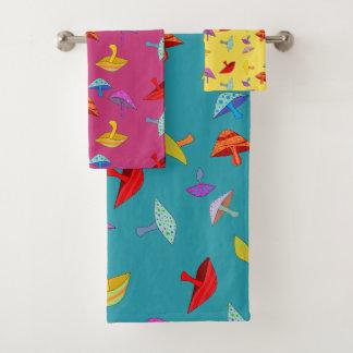 sistema colorido de la toalla de las setas