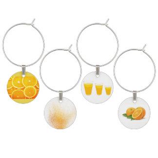 Sistema de cuatro pinturas del zumo de naranja identificadores de copas