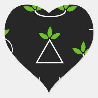 Sistema de elementos verdes del diseño de las pegatina en forma de corazón