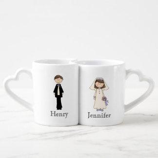 Sistema de encargo de la taza de novia y del novio tazas amorosas