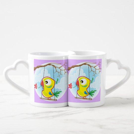Sistema de la taza de los amantes, violeta, con el