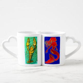 sistema de la taza del amante de la langosta y de  taza para parejas