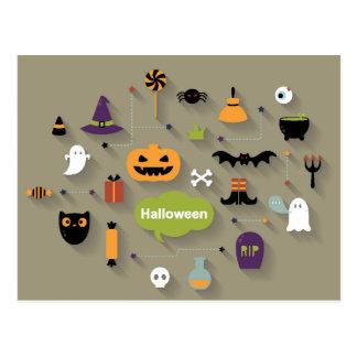 Sistema de los iconos de Halloween Postal