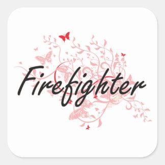 Sistema de trabajo artístico del bombero con las pegatina cuadrada