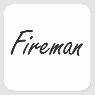 Sistema de trabajo artístico del bombero pegatina cuadrada