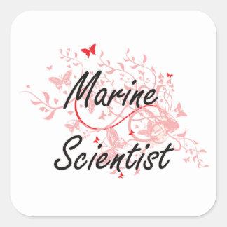 Sistema de trabajo artístico del científico marino pegatina cuadrada