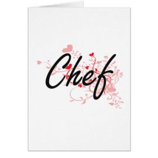 Sistema de trabajo artístico del cocinero con los tarjeta de felicitación