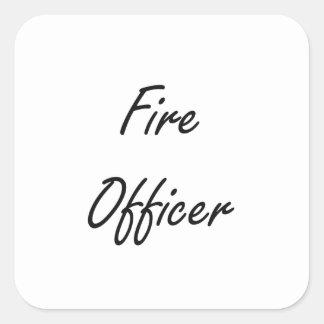Sistema de trabajo artístico del oficial del fuego pegatina cuadrada