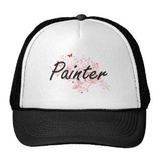 Sistema de trabajo artístico del pintor con las gorras