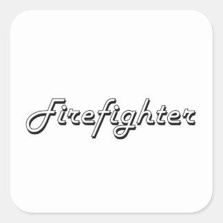 Sistema de trabajo clásico del bombero pegatina cuadrada