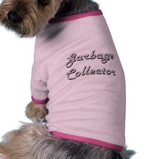 Sistema de trabajo clásico del colector de basura camiseta con mangas para perro