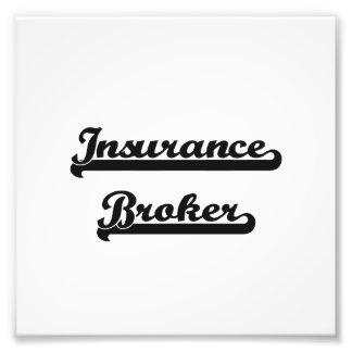 Sistema de trabajo clásico del corredor de seguros arte con fotos