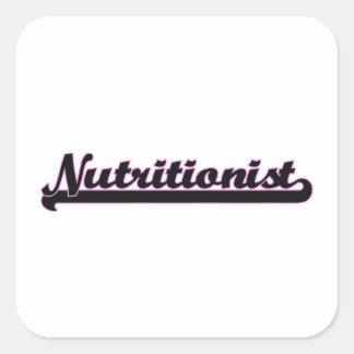 Sistema de trabajo clásico del nutricionista pegatina cuadrada