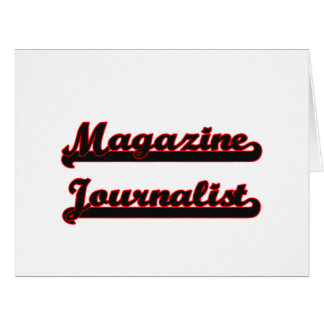 Sistema de trabajo clásico del periodista de la tarjeta de felicitación grande
