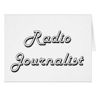 Sistema de trabajo clásico del periodista de radio tarjeta de felicitación grande