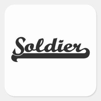 Sistema de trabajo clásico del soldado pegatina cuadrada